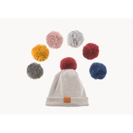 Winter Beanie PomPom Light Grey zestaw 3+1