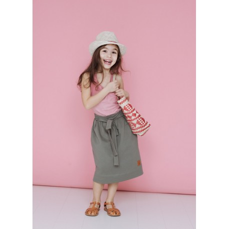 Spódnica Plain Khaki Midi Belt Skirt